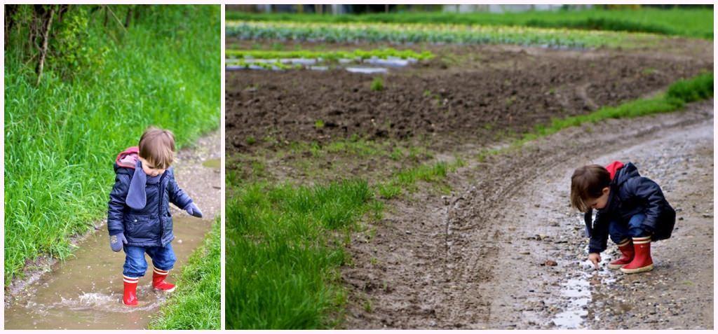 photos d'enfant en promenade sur un chemin