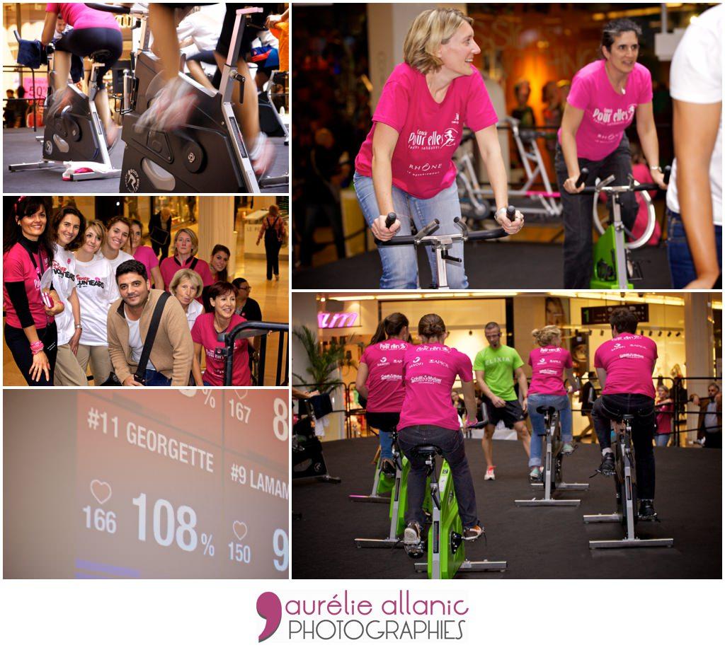 volontaires faisant du vélo à l'occasion de la manifestation ruban de l'espoir octobre rose 2013 centre commercial la part dieu