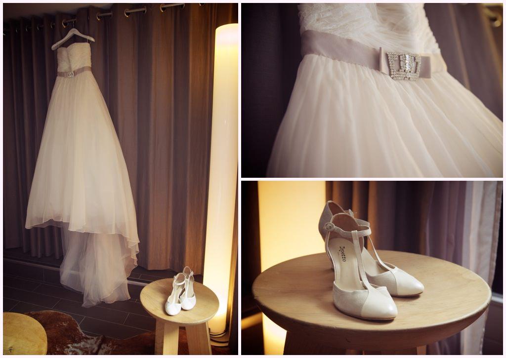 photo robe et chaussures de mariée