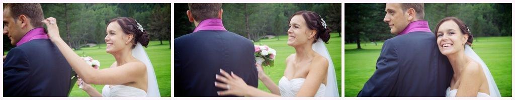 photo de couple mariage chamonix cabane du praz col de veste brodé du prénom nom de la mariée