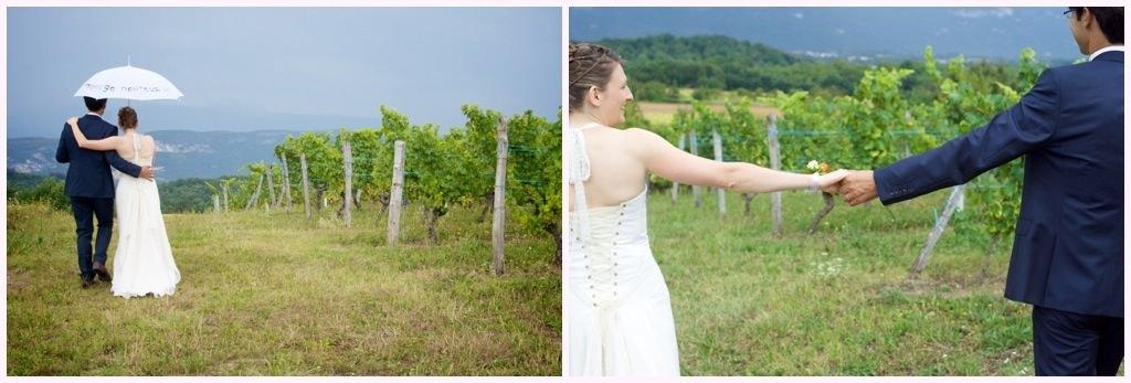 photographe mariage rhone alpes photos de couple dans les vignes
