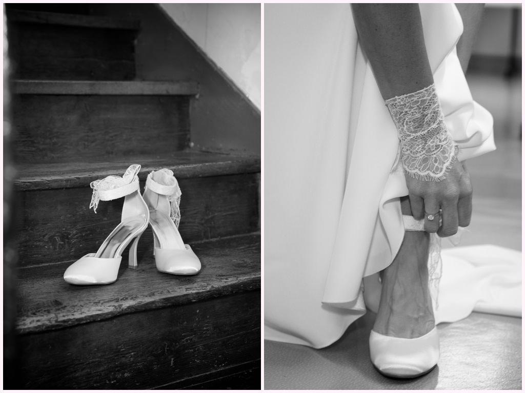 photographe mariage grenoble chambery préparatifs habillage chaussures mariée