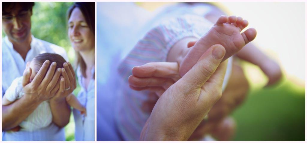 seance photo bebe en extérieur pieds de bébé mains de papa