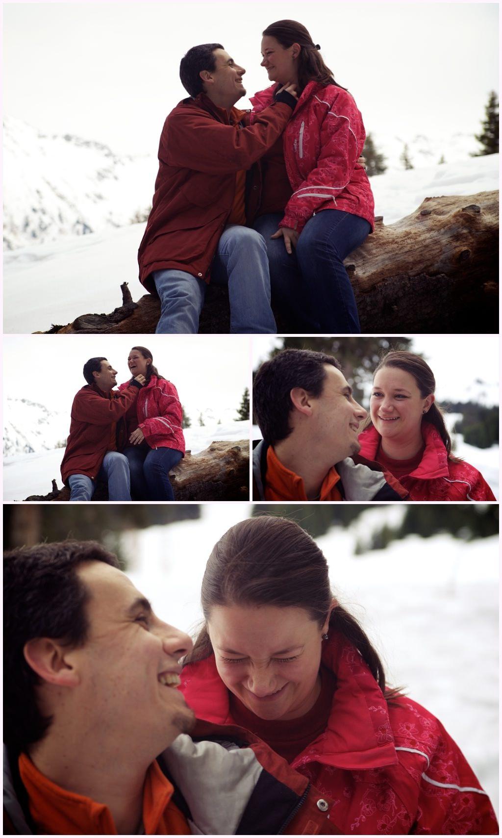 seance engagement photos couple hiver neige flocons