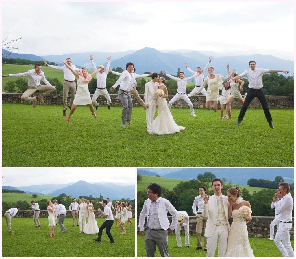 photo de groupe mariage en blanc château de montalieu saint vincent de mercuze