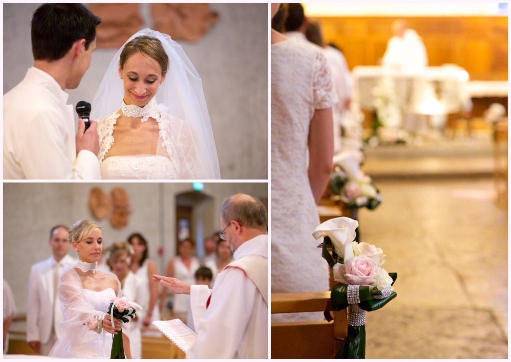 photos mariage chic en blanc église saint ismier