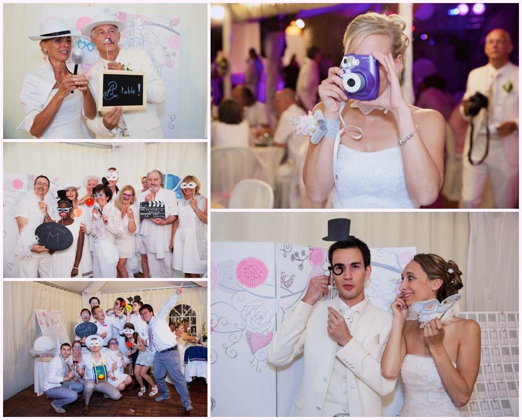 photos soirée mariage chic en blanc château de montalieu saint vincent de mercure Photo Booth