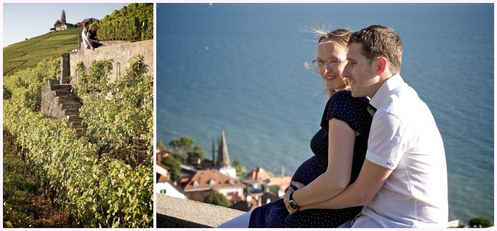 photographe mariage grossesse lausanne geneve séance photo dans les vignes au bord du lac leman