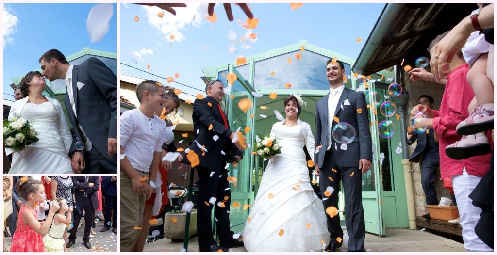 photographe_mariage_macon mairie sortie bulles pétales
