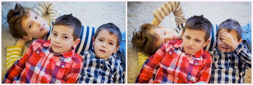 portrait enfant frères séance photo photographe grenoble chemise à carreaux t-shirt rayé marinière jaune rouge bleu
