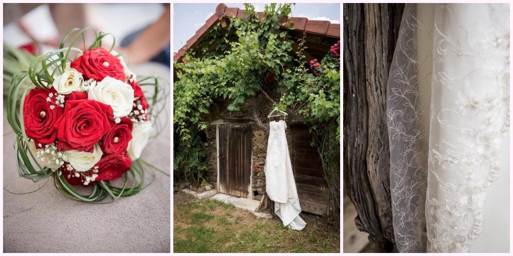 bouquer mariée rouge robe mariee dentelle grange